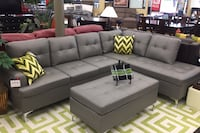 Gray Sectional w/ Ottoman (NEW)