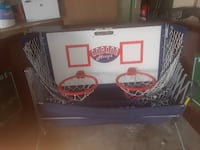 white and red basketball hoop GARLAND