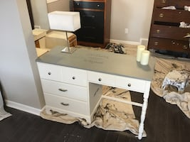 Beautiful upscaled desk. Gorgeous stencilling. Christmas gift? Deliver