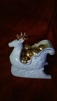 Reindeer Sleigh with glass ball ornaments Langhorne