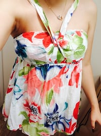 white, red, and green floral print halter top shirt Richmond, V6X