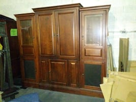 3 piece cherry wood entertainment center and 4 chairs and table