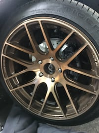 17x9 +20 offset.      5x114 hub pattern . Wheels are super light weight .  New tires all around only have receipt for fronts but all are new  Tires are stretched but not super 215-45-17 $500 OBO... San Leandro, 94577