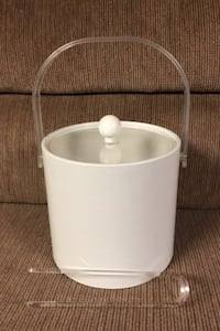 Ice Bucket and tongs,white durable plastic. Canton, 48187