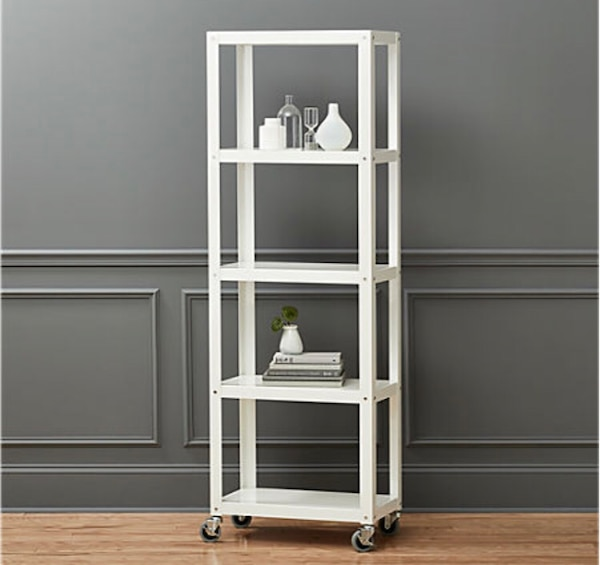 CB2 Go-Cart White five shelf rolling bookcase
