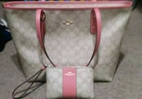 white and pink Coach leather tote bag Lancaster, 93534