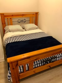 MOVING SALE Queen Wood Bed Frame + Mattress + 2 Pillows Toronto, M4E 2A9