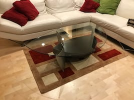 HipPDX contemporary modern glass top coffee table with storage