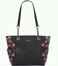 black and pink floral leather tote bag Winnipeg, R2V 0L5