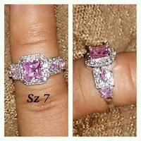 Pink & white cz diamonds.Sterling silver band Glen Burnie, 21061