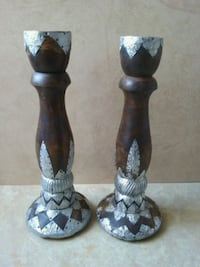 Wood & Metal Taper Candle Candlestick Holder Set Chester, 19013