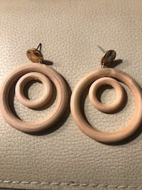Round Spiral Wooden Drop earrings