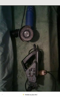 black and blue corded power tools