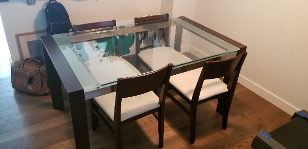 Glass Dining Table with 4 Chairs 2c1751b4-f4f2-484e-8bb3-2d24027a3b2c