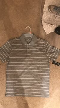 grey and white striped polo shirt