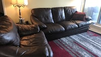 Brown leather 3-seat sofa and a chair  Richmond Hill