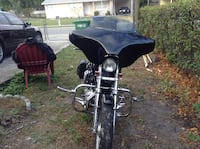 Black and silver touring motorcycl