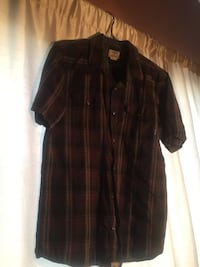 Brown and white plaid button-up shirt Lancaster, 93535