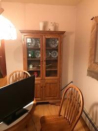 Oak wood cabinet with table and 4 chairs good condition  Forked River, 08731