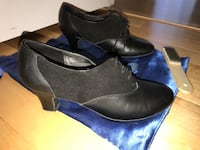 pair of black leather heels shoes