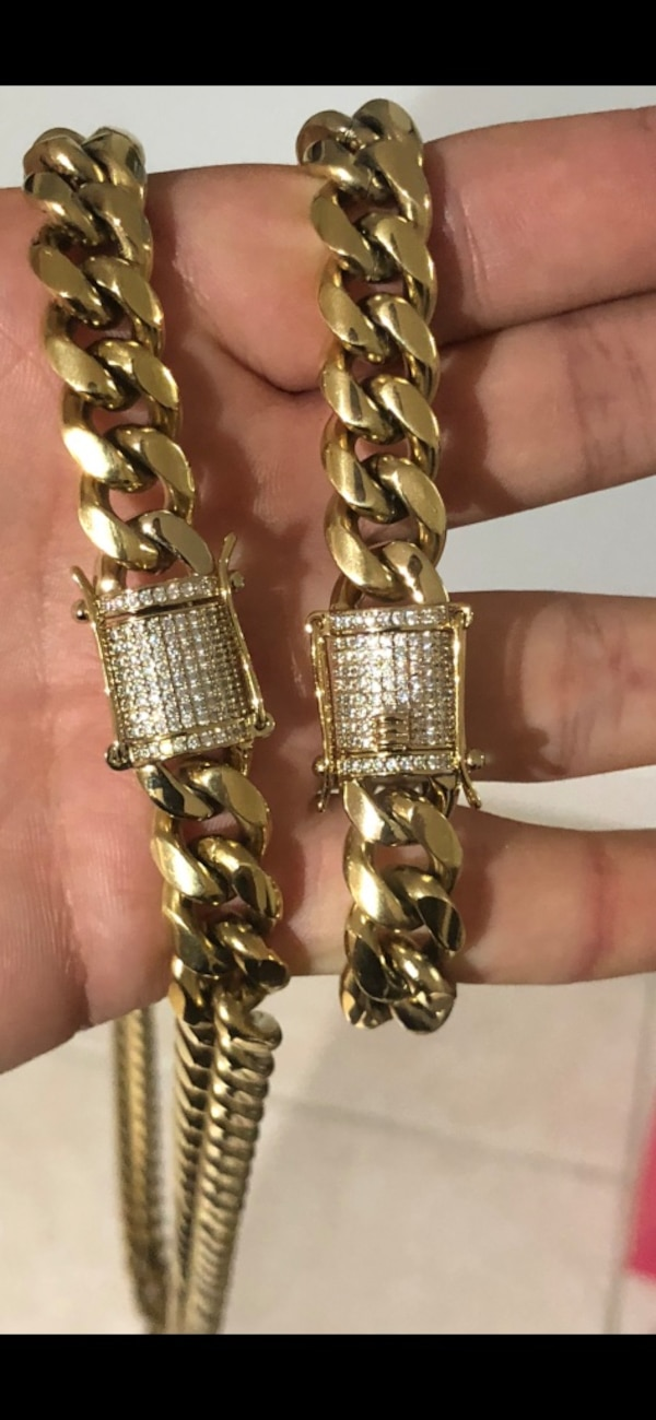 Miami Cubans chain and bracelet best quality iced out lock handmade