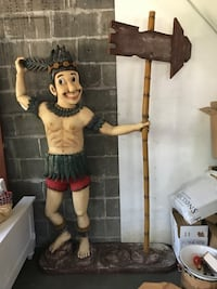 Great 1970s Polynesian man around 6 feet tall great for restaurant or your bar or home patio