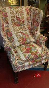 white, red, and green floral fabric sofa chair Monroe, 30655