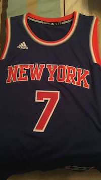 blue, white, and red Adidas New York 7 jersey shirt
