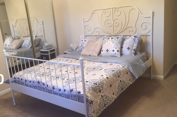 Ikea Leirvik Queen Bed Frame White Luröy With Mattress