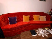 red and black fabric sofa & chair
