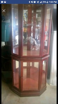 brown wooden framed glass display cabinet St. Louis, 63109