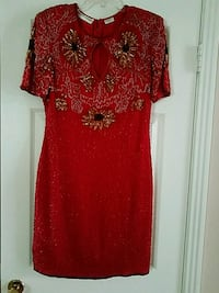 Red with sequence scoop-neck dress Clarksville, 37042
