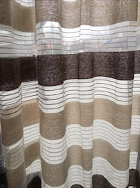 "2 Curtain Panels Brown/Beige Stripes 52"" x 84"" Montréal, H3S 1M1"
