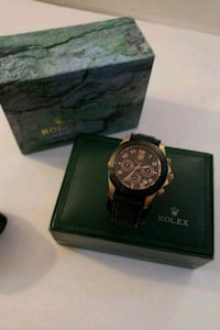round black chronograph watch with black leather strap Lake Forest, 92630