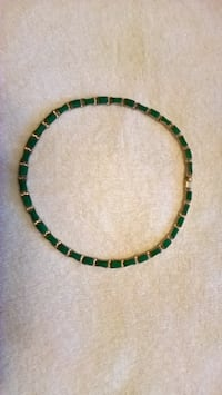 Real Silver Necklace w Green Stones