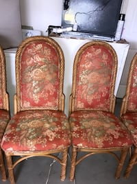two brown wooden framed red floral padded armchairs Fort Myers, 33905
