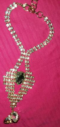 diamond embellished necklace with lobster lock