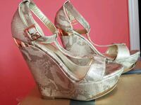 pair of gray peep toe ankle strap wedge sandals Pickering, L1X 2L1