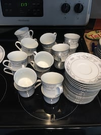 White-and-gray ceramic teacups and saucers china swt Winnipeg, R2G 0L5