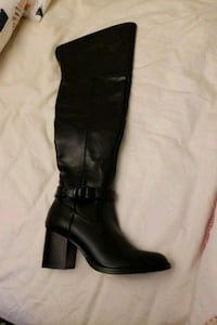 pair of black leather knee-high boots Oakville, L6H 2K3