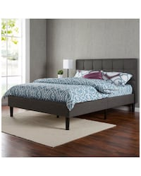 Queen size bed frame with headboard, Japanese mattress, and memory foam pillow topper MSRP $750 Austin, 78741