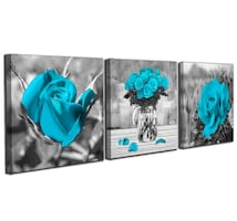 Black and White Blue Rose Flowers Wall Art for Bedroom Simple Life