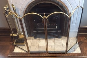 Fireplace brass screen and marble tool set