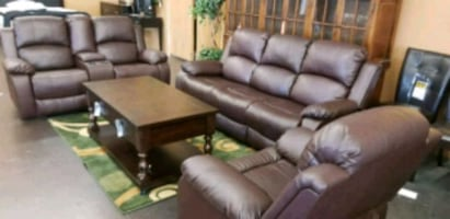 Three piece bonded leather living room set