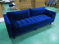 New Velvet Upholstered Mid Century Sofa