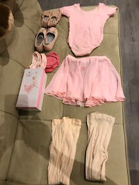 Ballerina outfit with 2 shoes, skirt, leotard, 2 tights 2 sock inserts, size 5-7. Mississauga, L5A
