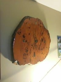 brown wood slab analog wall clock North Saanich, V8L 3Z5