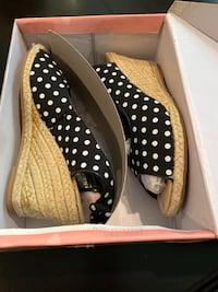 Top Moda black and white polka dot shoes (size 6)