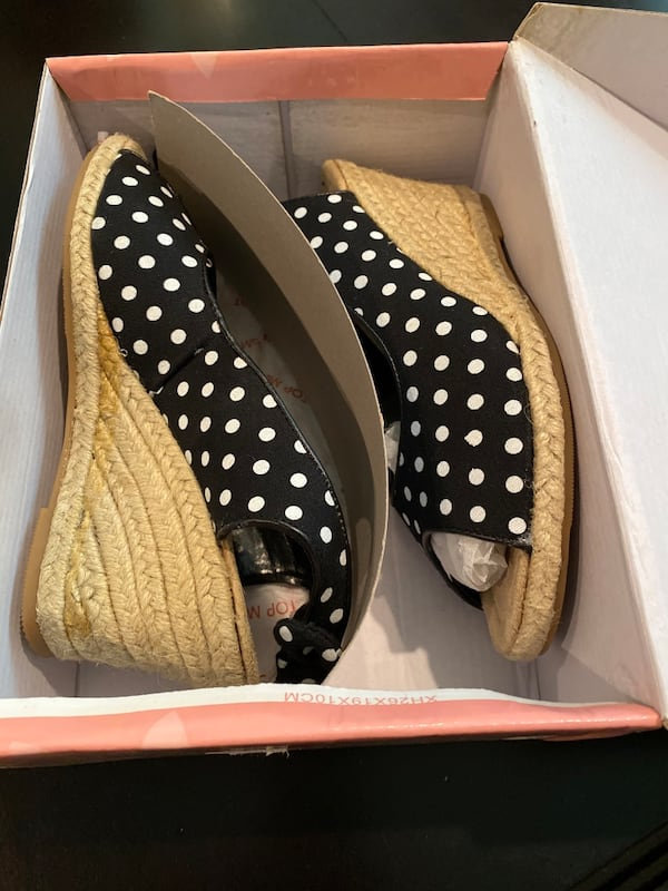 Top Moda black and white polka dot shoes (size 6) 0