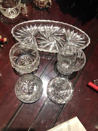 Vintage Pinwheel crystal sugar bowls with lids and oval plates. Mint, $30 for all 506 km